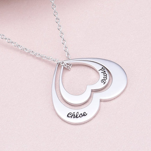 "Copper/925 Sterling Silver Personalized Double Name Necklace-Adjustable 16""-20"""