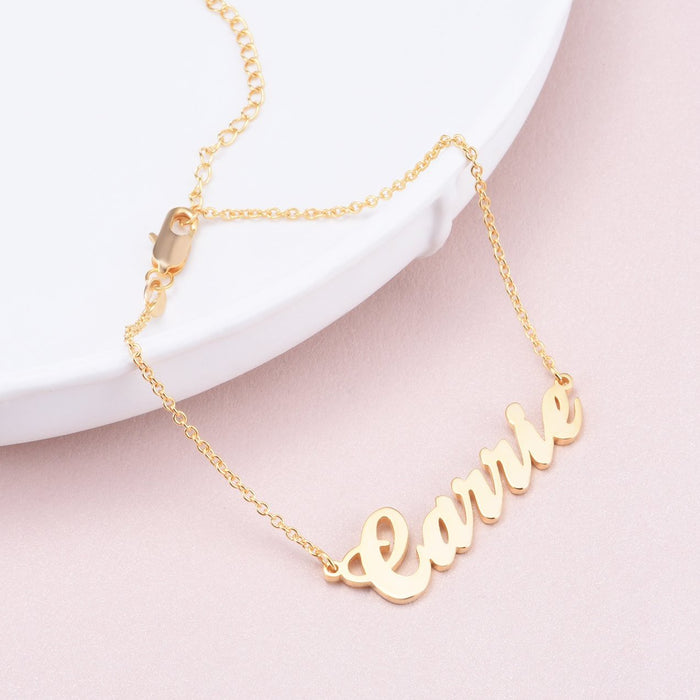 "Carrie-Copper Personalized Name Bracelet Adjustable 6""-7.5""- White Gold /Yellow Gold Plated"