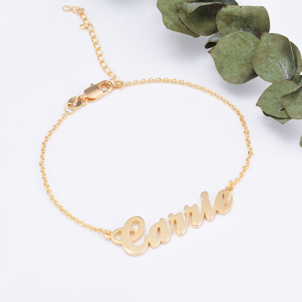 "Carrie-Copper Personalized Name Bracelet Adjustable 6""-7.5"""
