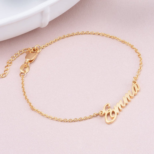 """Emma""-Copper/925 Sterling Silver Personalized Name Bracelet Adjustable 6""-7.5""-Yellow Gold Plated"
