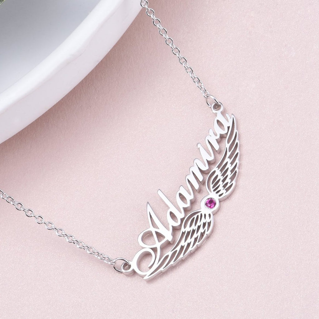 "Adamira - 925 Sterling Silver/10K/14K/18K Personalized Angel Wing Swarovski Name Necklace Adjustable Chain 16""-20"""