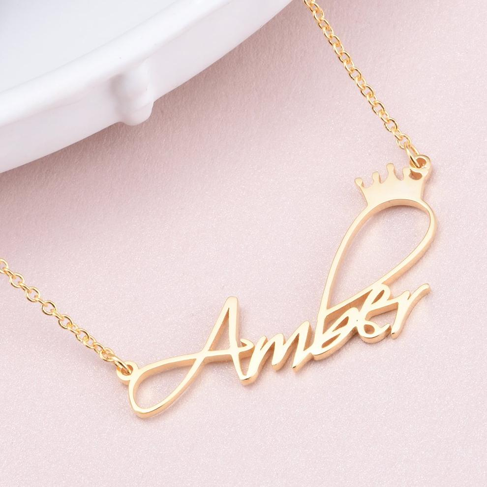 "AmberH - Copper/925 Sterling Silver Personalized Princess Crown Name Necklace Adjustable Chain 16""-20"