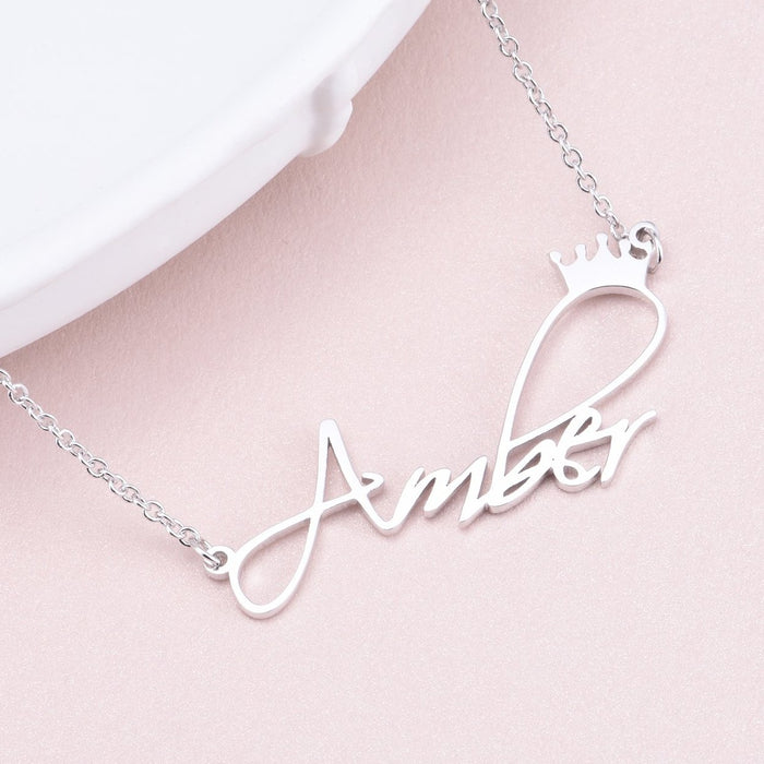 "AmberH - Copper/925 Sterling Silver Personalized Princess Crown Name Necklace Adjustable Chain 16""-20"""