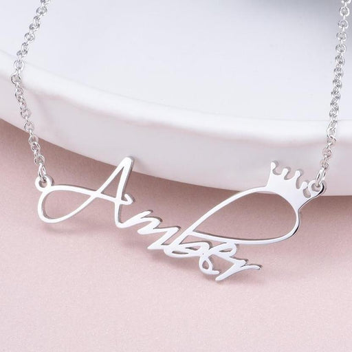 "Copper/925 Sterling Silver Personalized Princess Crown Name Necklace Adjustable Chain 16""-20"""