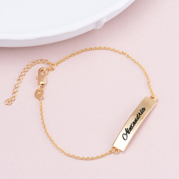 "Copper/925 Sterling Silver Personalized Name Bar Bracelet Length Adjustable 6""-7.5"""