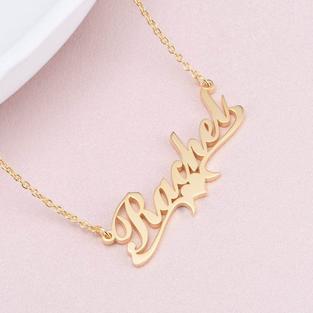 "Rachel - Copper/925 Sterling Silver/10K/14K/18K  Personalized Middle Heart Name Necklace Adjustable 16""-20"""