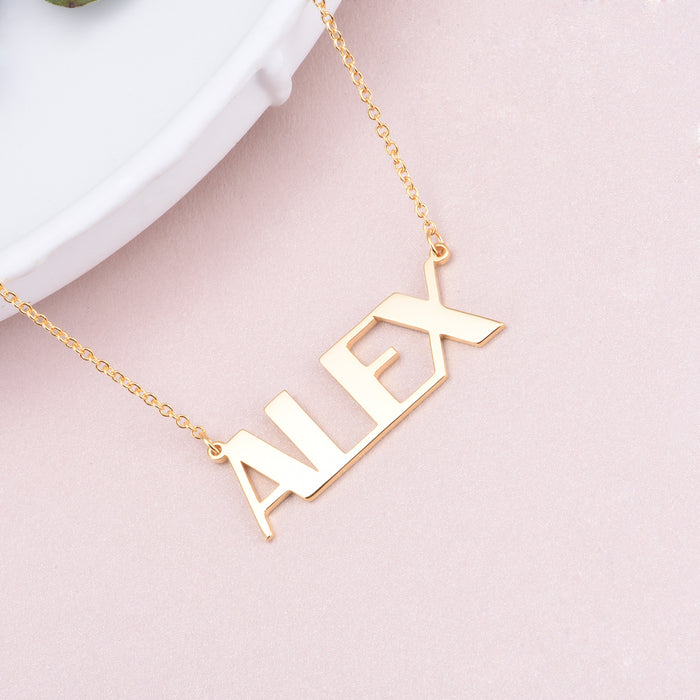 "Copper/925 Sterling Silver Personalized Capital Letters Name Necklace Adjustable 16""-20"""