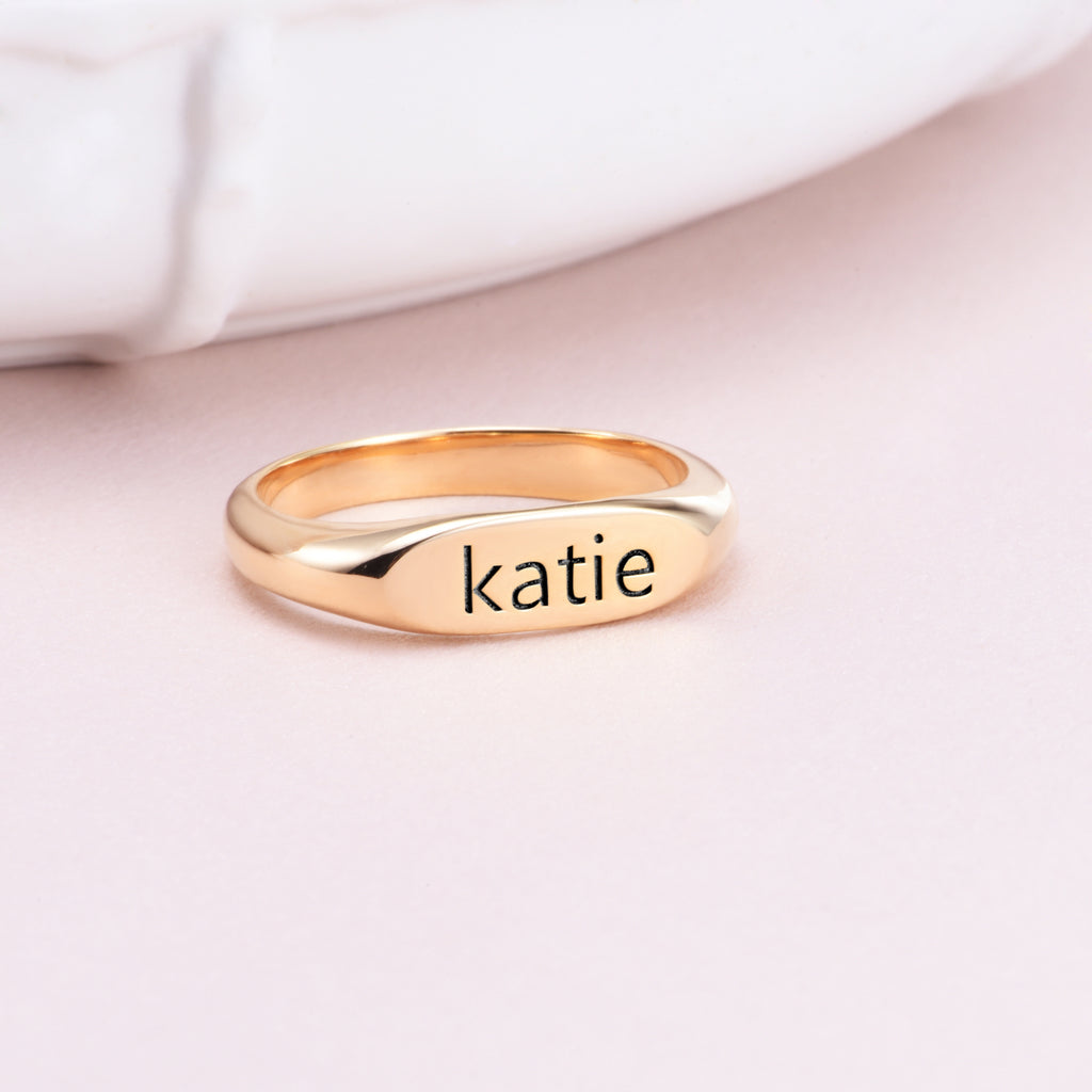 Copper/Sterling Silver Personalized Oval Text Signet Engraved Ring