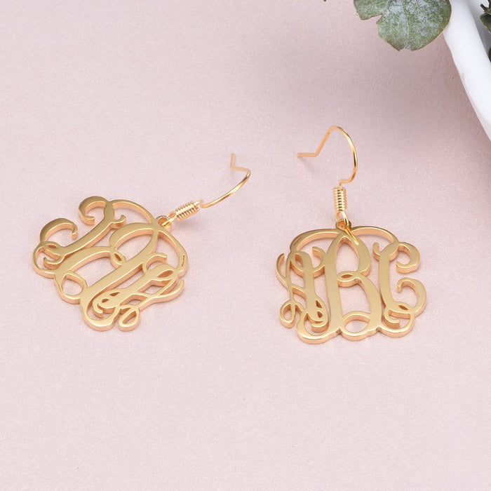 Copper/925 Sterling Silver Personalized Monogram Earrings