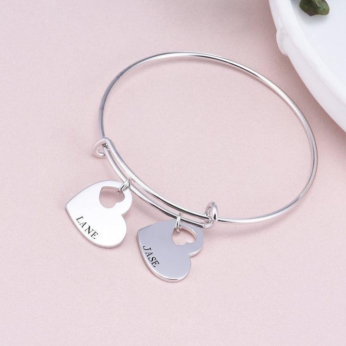 "Copper/925 Sterling Silver Personalized Adjustable Double Heart Name Bangle Adjustable 6""-7.5"""