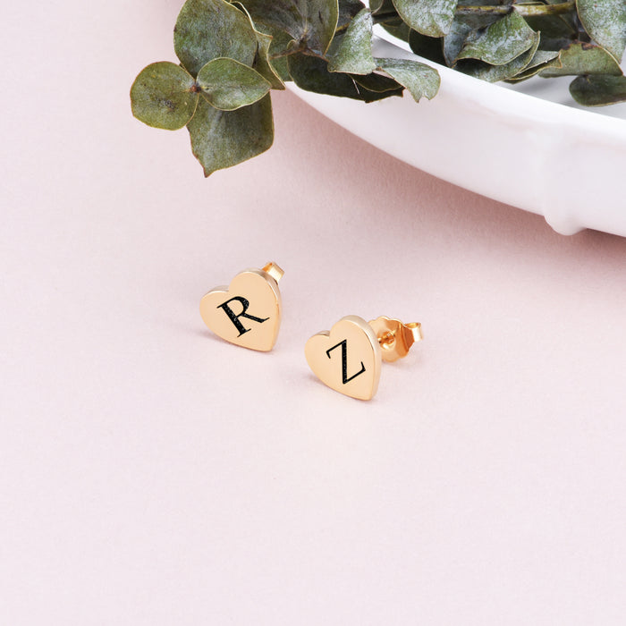 Copper/925 Sterling Silver Personalized Engraved Hearts Stud Earrings