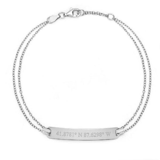 "Coordinate- 925 Sterling Silver Personalized  Bar Engraved Bracelet Adjustable 6""-7.5"""