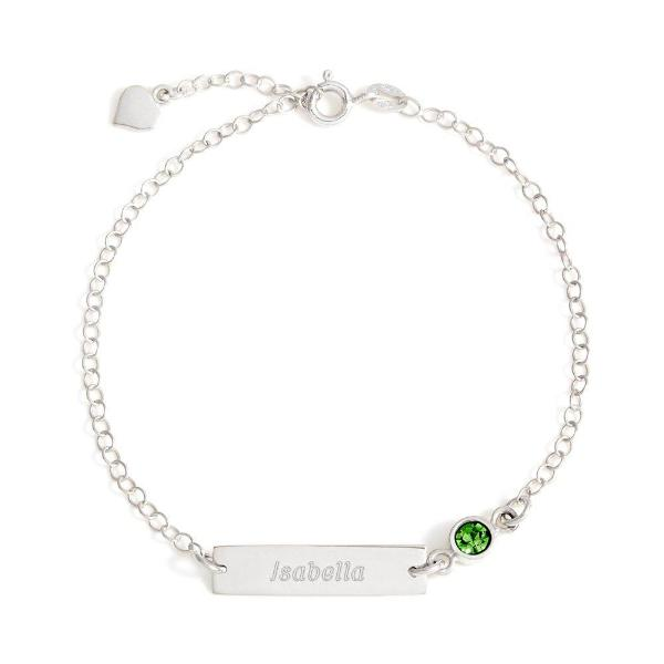 "925 Sterling Silver Personalized Bezel Set Birthstone Engraved Bracelet Adjustable 6""-7.5"""