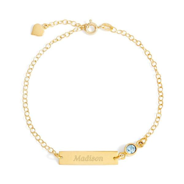 "925 Sterling Silver Personalized Birthstone Engraved Bracelet Adjustable 6""-7.5"""