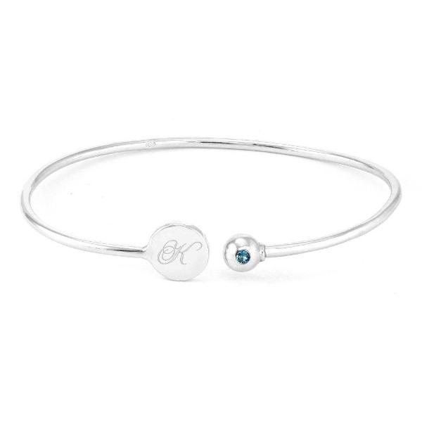 "925 Sterling Silver Personalized Engravable Birthstone Signet Cuff Bracelet Adjustable 6""-7.5"""