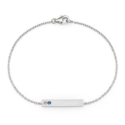 925 Sterling Silver Personalized 2 Stone Birthstone Name Bar Bracelet