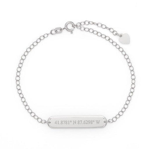 "925 Sterling Silver Personalized Coordinate Oval Name Bar Bracelet Adjustable 6""-8.5"""