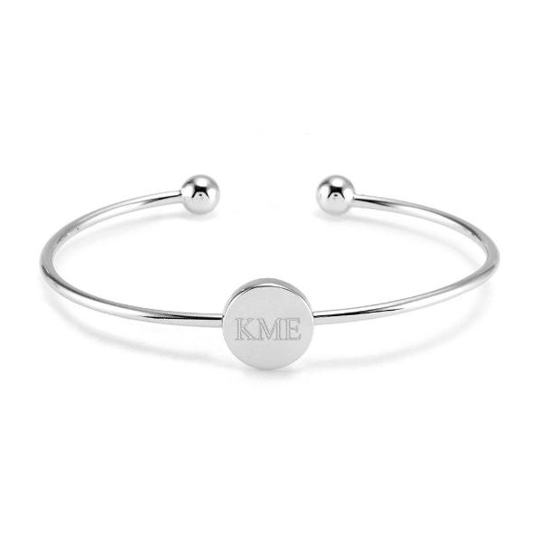 "925 Sterling Silver Personalized Engravable Monogram Circle Signet Cuff Adjustable 6""-7.5"""
