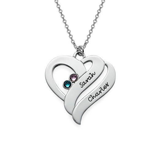 925 Sterling Silver Personalized Two Hearts Forever One Necklace with Birthstones