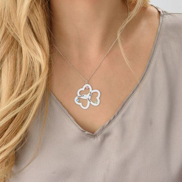 Copper/925 Sterling Silver Personalized Triple Heart Necklace
