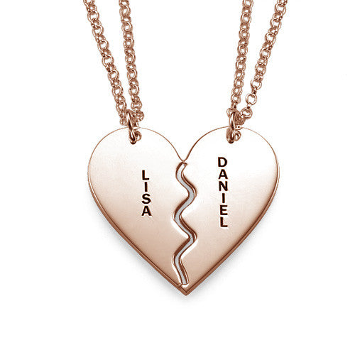 925 Sterling Silver Personalized Breakable Heart Necklaces