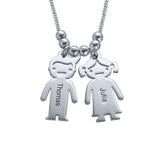 925 Sterling Silver Personalized Mother's Necklace with Children Charms