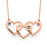 Copper/925 Sterling Silver Personalized Intertwined Hearts Necklace with Birthstones