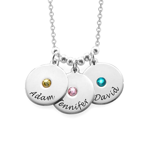 Copper/925 Sterling Silver Personalized Mother's Disc and Birthstone Necklace