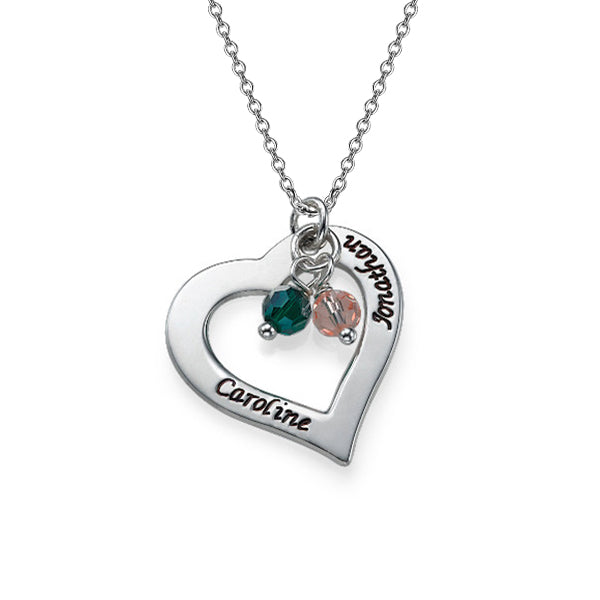 925 Sterling Silver Personalized Engraved Necklace with Hollow Heart