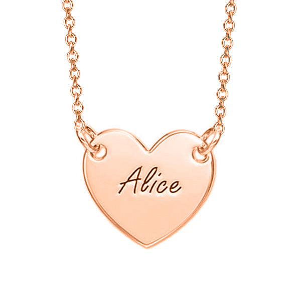 925 Sterling Silver Personalized Engraved Heart Necklace Adjustable 16-20