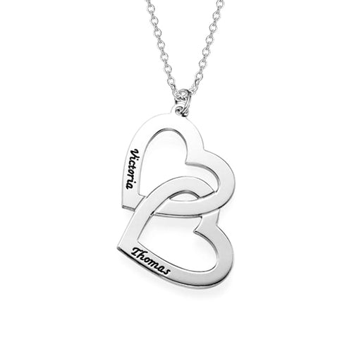 925 Sterling Silver Personalized Heart in Heart Engraved Necklace Adjustable 16-20""