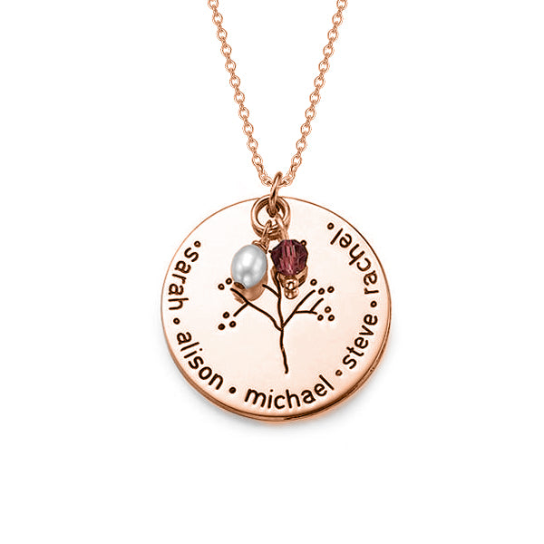 Copper/925 Sterling Silver Personalized Birthstone And Pearl Family Tree Necklace Adjustable 16-20