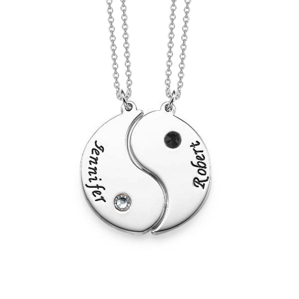 Copper/925 Sterling Silver Personalized Engraved Yin Yang Necklace with Birthstone for Couples Adjustable 16-20