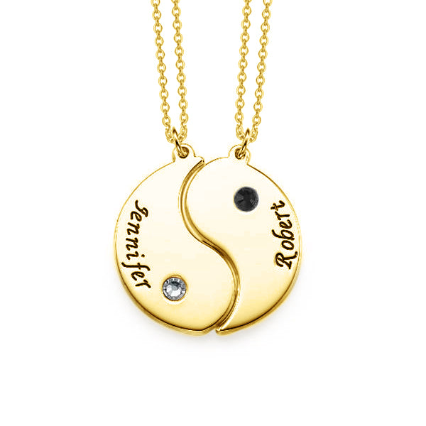 Copper/925 Sterling Silver Personalized Engraved Yin Yang Necklace with Birthstone for Couples Adjustable 16-20""