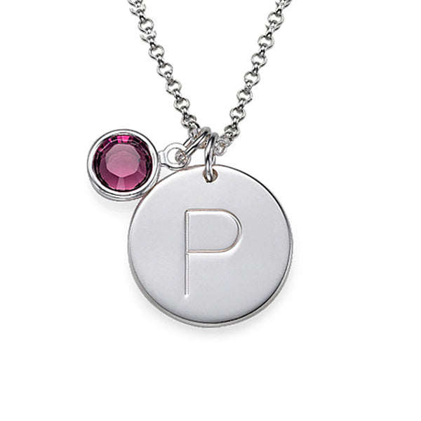 Copper/925 Sterling Silver Personalized Initial Charm Necklace with Birthstone Adjustable 16-20""