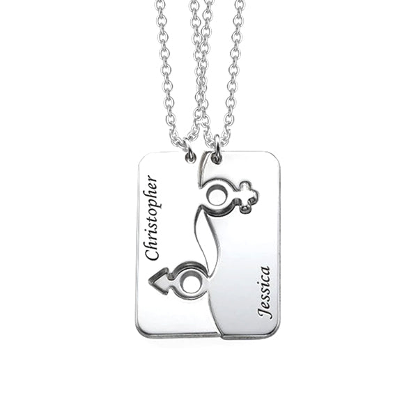 925 Sterling Silver Personalized Engraved His and Hers Necklace for Couples Adjustable 16-20