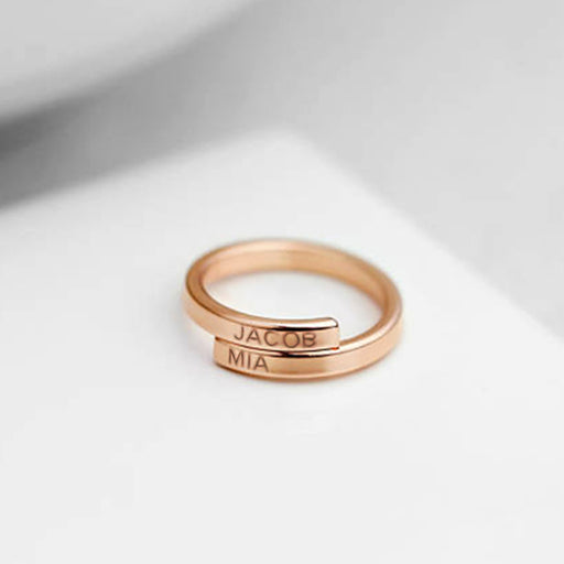 Copper/925 Sterling Silver Personalized Initials Best Friend Engraved Ring