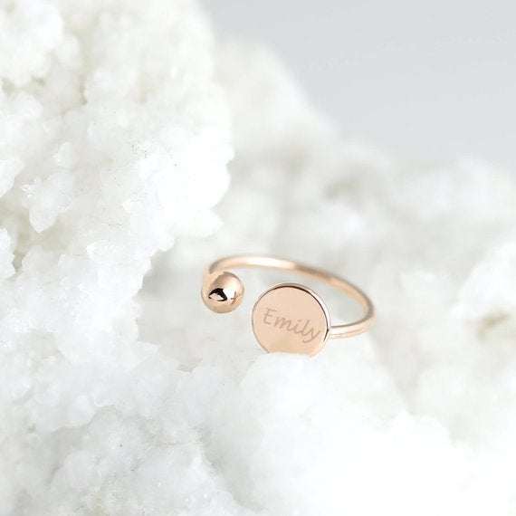925 Sterling Silver Personalized Adjustable Stacking Ring