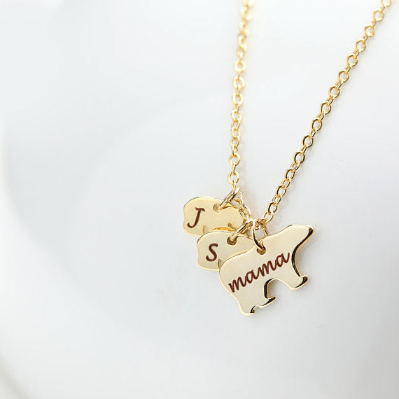 "Personalized Hand Stamped Mama&Baby Bear 925 Sterling Silver Necklace  Adjustable 16""-20"""