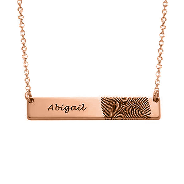 "Copper/925 Sterling Silver Personalized Fingerprint Bar Necklace -Adjustable 16""-20"""