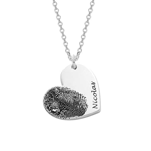 "Copper/925 Sterling Silver Personalized Fingerprint Heart Necklace-Adjustable 16""-20"""