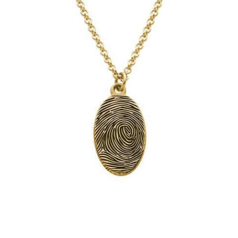 Copper/925 Sterling Silver Personalized Fingerprint Oval Necklace