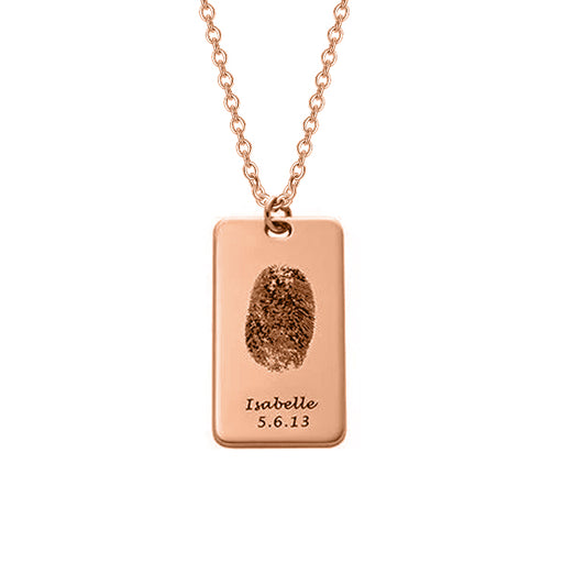 Copper/925 Sterling Silver Personalized Fingerprint Dog Tag Necklace