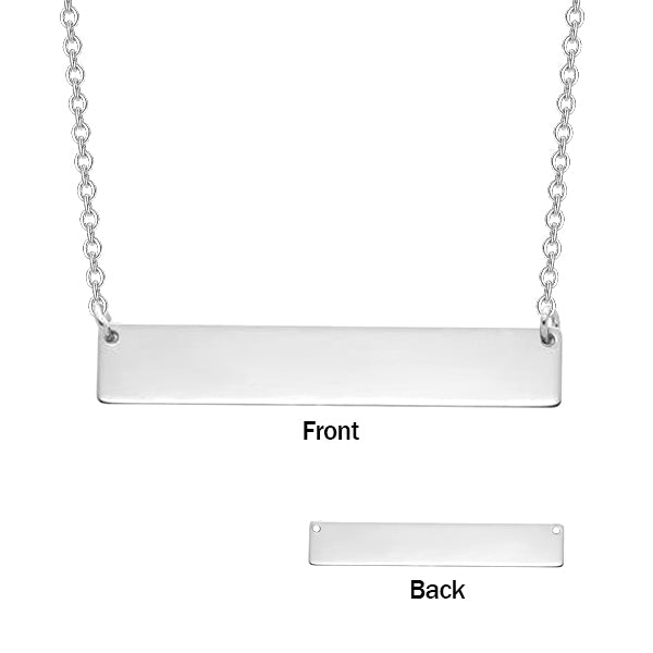 Copper/925 Sterling Silver Personalized Fingerprint Bar Necklace with Back Engraving