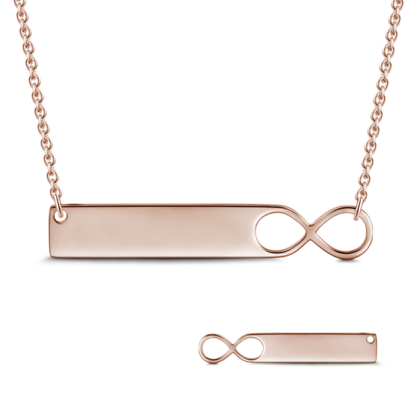 14K Gold Personalized Infinity Engravable Bar Necklace