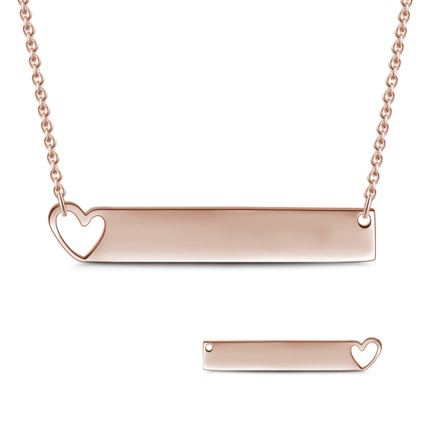 "Copper/925 Sterling Silver Personalized Heart Engravable Bar Necklace Adjustable 16""-20"""