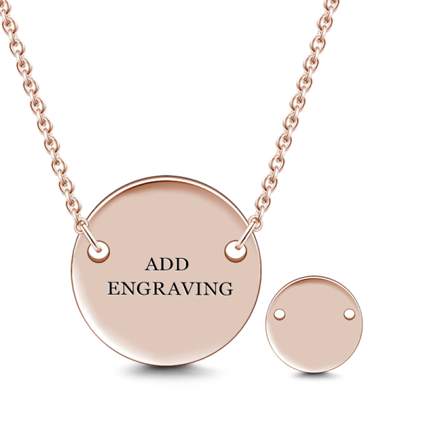 14K GOLD ENGRAVABLE HANG TAG ROUND NECKLACE