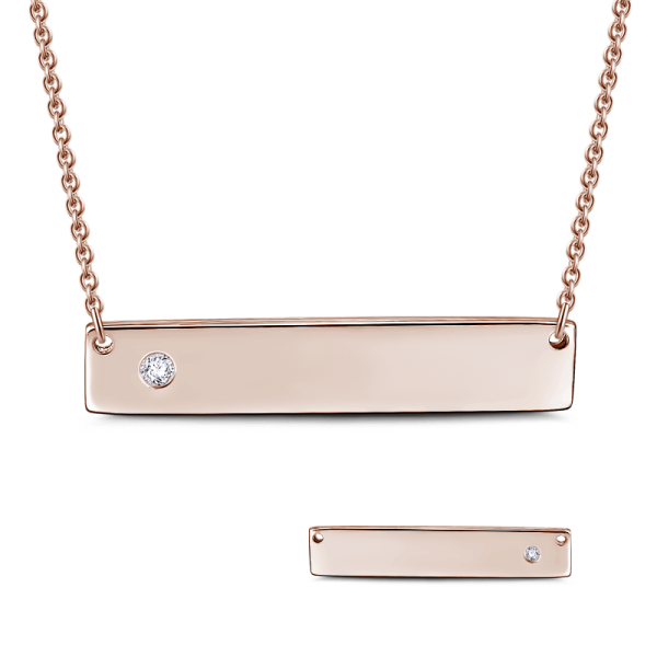 "0.02CT Natural Diamond  Inlay 925 Sterling Silver  Personalized Bar Necklace-Adjustable 16""-20"""