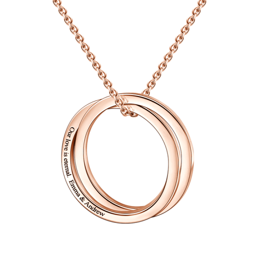 "Copper/925 Sterling Silver Personalized Engravable Double Loop Necklace Adjustable 16""-20"""