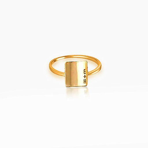 Copper/925 Sterling Silver Personalized Roman Numeral  Engraved Ring -Yellow Gold Plated